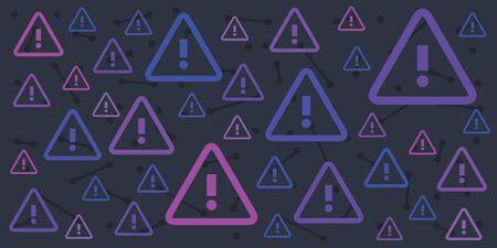 vector illustration of attention marks on dark blue colors background Illustration