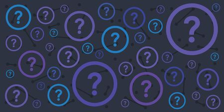 vector illustration of questions marks for interview plan or dispute on dark blue background