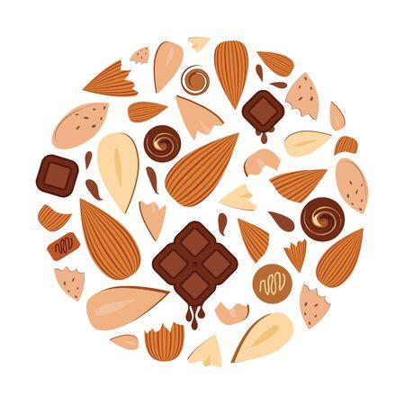 vector illustration of almond chocolate flavor in round shape design