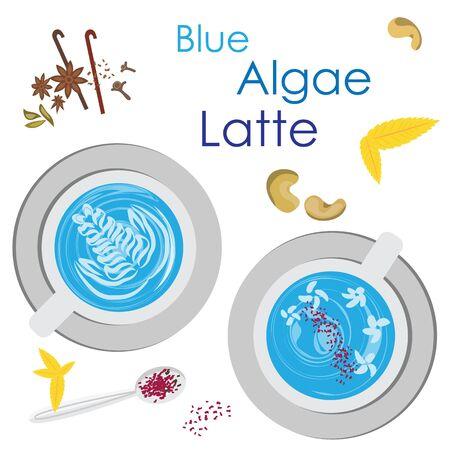 vector illustration for blue algae latte
