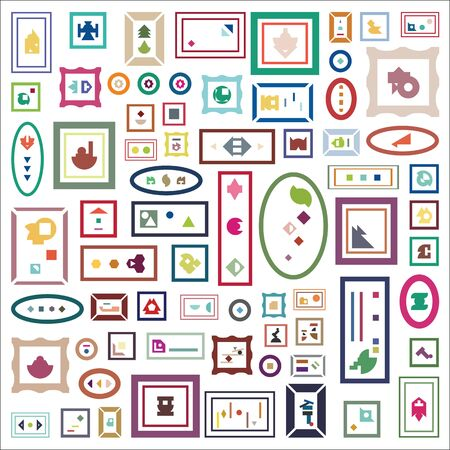 vector illustration for contemporary art concept with plenty of frames with abstract colorful shapes Ilustração