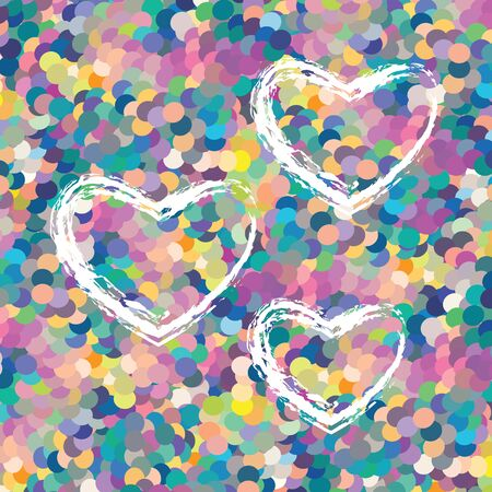 vector illustration of colorful dots mosaic background with white sketched hearts for love concepts Illustration