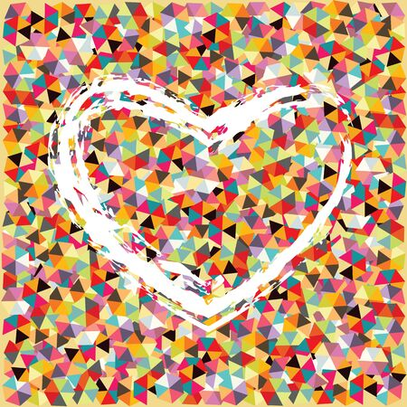 vector illustration of colorful mosaic background with white sketched heart for love concepts