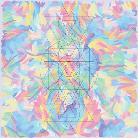 vector illustration of geometrical shapes on colorful holographic background Illustration