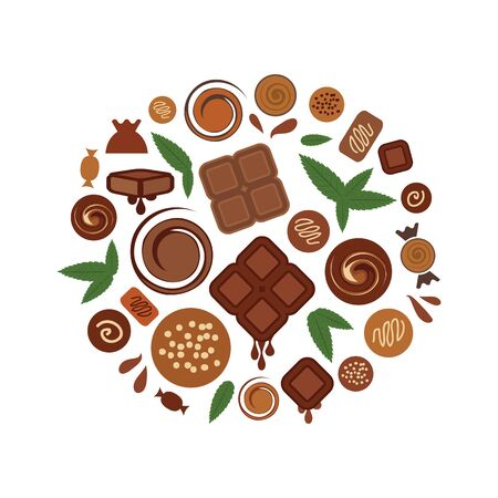 vector illustration of mint chocolate flavor in round shape design