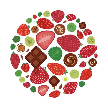 vector illustration of strawberry chocolate flavor in round shape design