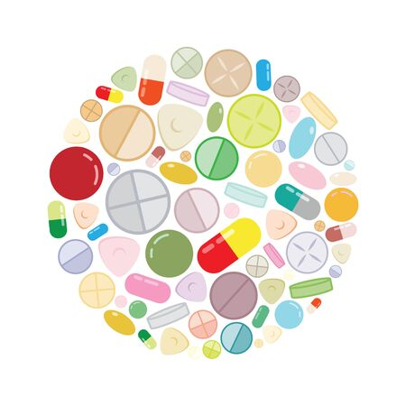 vector illustration for pills and medicine in circle shape design for pharmacy and health care concepts Illustration