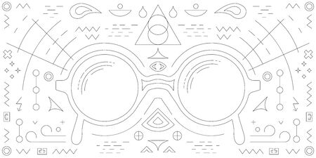 vector illustration of glasses with linear art decorative elements on dark background