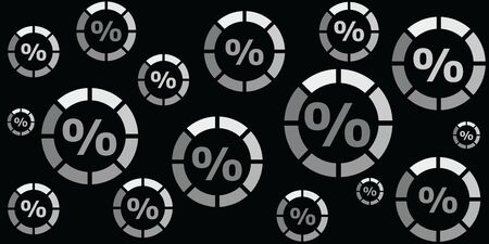 vector illustration of scheme with percent symbols for sales and discounts background with round loading bars
