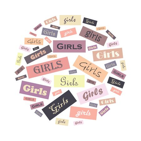 vector illustration of girl power round emblem with different type style letters in colorful rectangles