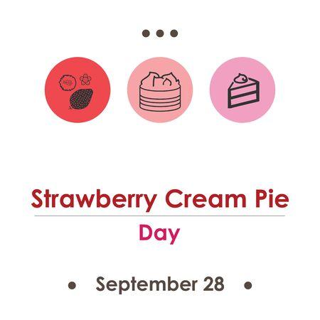 vector illustration for strawberry cream pie day in September