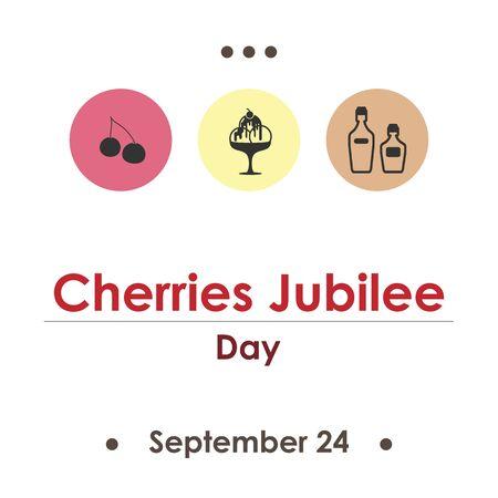 vector illustration for cherries jubilee day in September