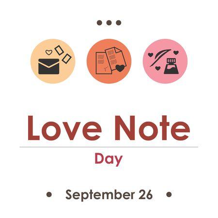 vector illustration for love note day in September