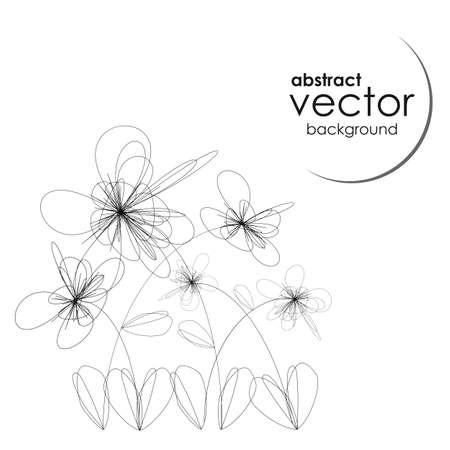 vector illustration / abstract background / black and white / graphic flowersweb Illustration