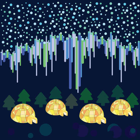 vector illustration / aurora with starry sky and igloo Illustration