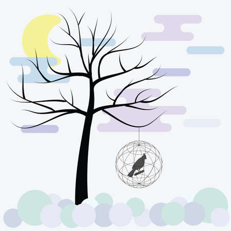 vector illustration / bird cages / abstract background