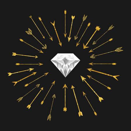 vector illustration / golden heart with arrows