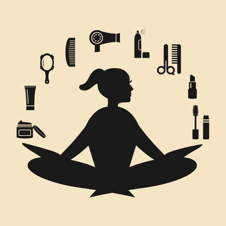 vector illustration / girl yoga posture / beauty salon tools