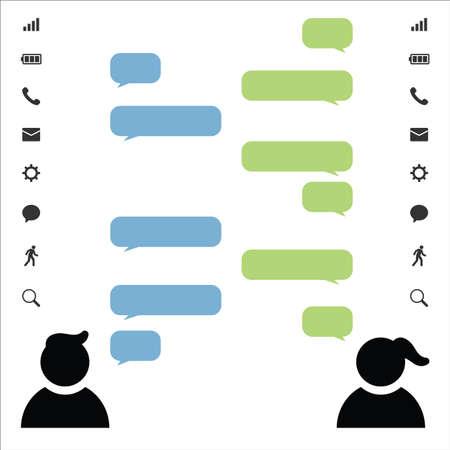 vector illustration / male and female / speech bubbles Illustration