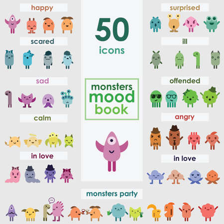 vector illustration / cute monsters / emoticons large collection Vektorové ilustrace