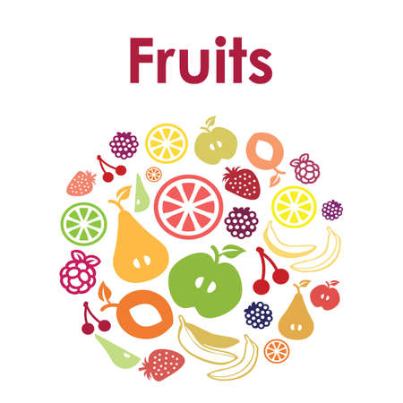 Vector illustration / fruits / circle design