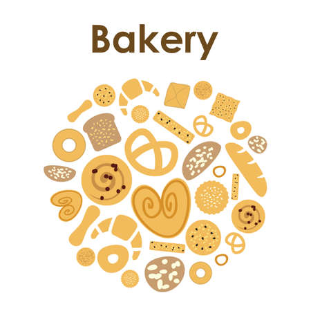 Vector illustration / bakery / circle design