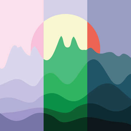 vector illustration / landscape / parts of the day 일러스트