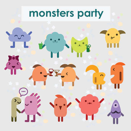 vector illustration / cute monsters / emoticons large collection Banque d'images - 152032616