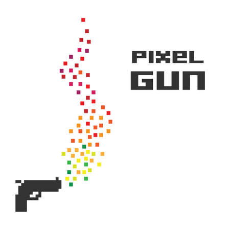 vector illustration /  pixel art / gun shot Banque d'images - 152248795