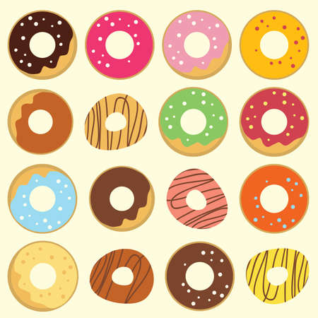 vector illustration / donuts in rows Illustration