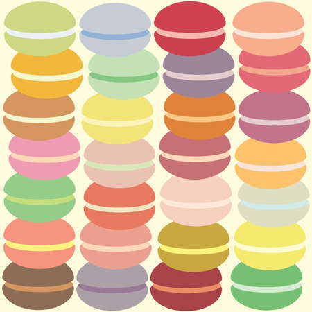 vector illustration / macarons in rows
