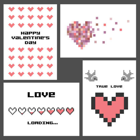 vector illustration / valentines day greeting card / pixel art Illustration