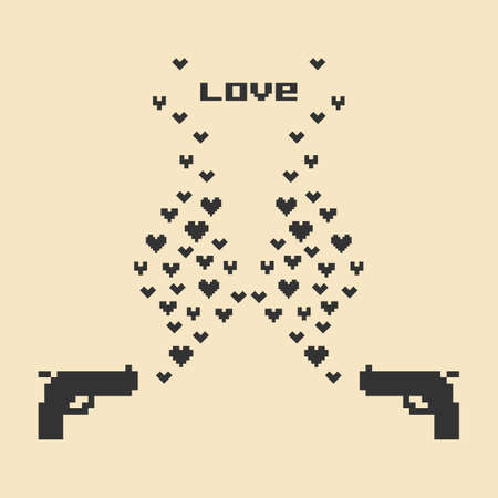 vector illustration /  pixel art / valentines day card Banque d'images - 152248927