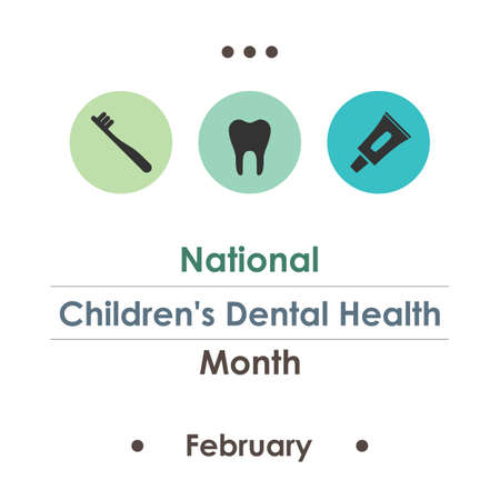 vector illustration / National Children's Dental Health Month