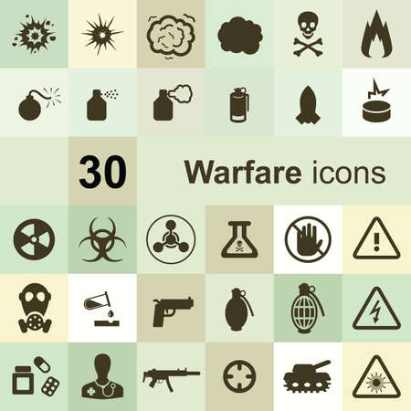 warfare icons set Illustration