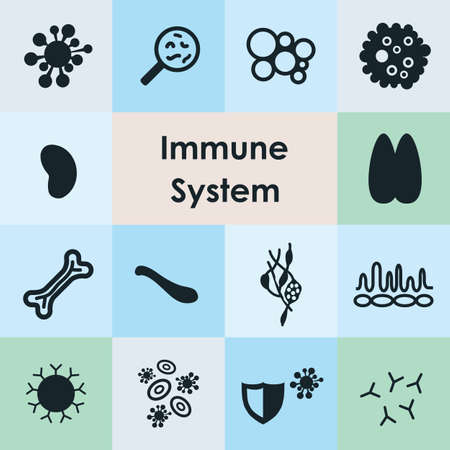 vector illustration / immune system icons set Illustration