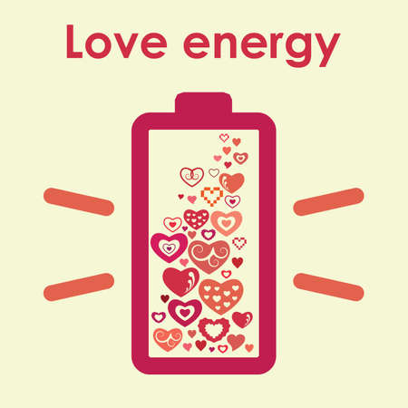 vector illustration / love energy battery