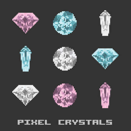 vector illustration / pixel crystals and diamonds
