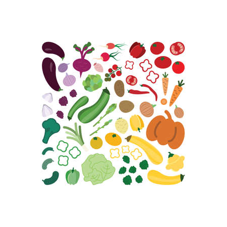Vector illustration / vegetables rainbow / square design Illustration