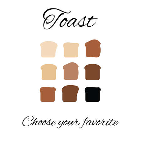 vector illustration / toast bread frying levels