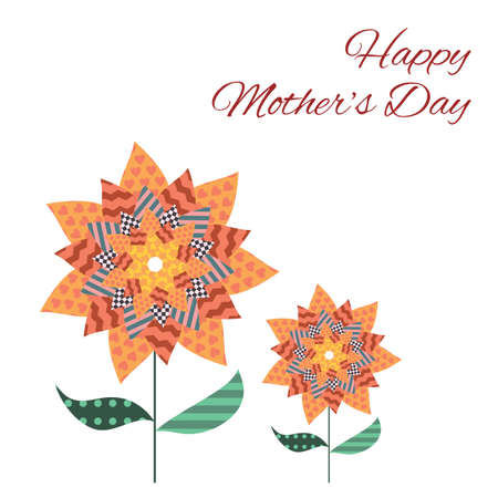 vector illustration / mothers day card / patchwork style flowers