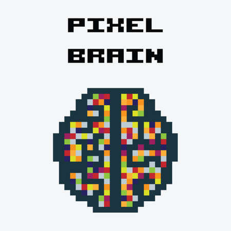 vector illustration / pixel brain Illustration