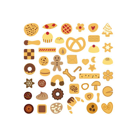 vector illustration / cookies flat lay / square design Banque d'images - 152428642