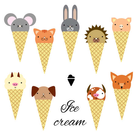 vector illustration / cute animals in ice cream cones Banque d'images - 152428643