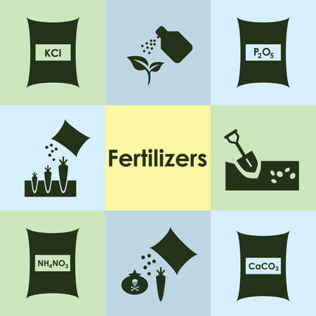 vector illustration / fertilizers icons set