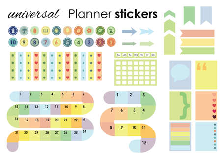 vector illustration / planner stickers set / empty months grid