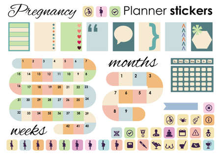 vector illustration / pregnancy planner stickers Illustration