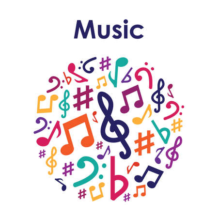 vector illustration / music notes in circle Illustration