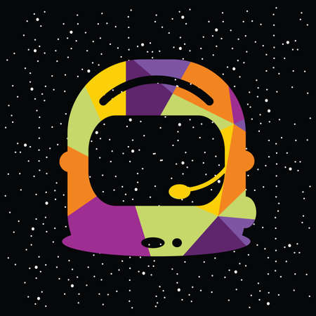 vector illustration / cosmic abstract design / rainbow colored polygonal pattern / spaceman helmet image