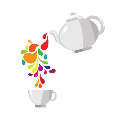 vector illustration / teapot and cup / colorful drops and swirls Banque d'images - 153224042